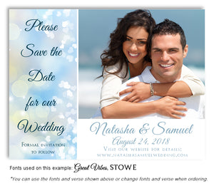Blue Hearts Save the Date Wedding Photo Magnet