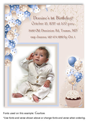 Blue-Tan Polka Dot Balloons Invitation Photo Birthday Magnet
