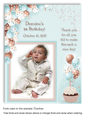Brown-Light-Turquoise Polka Dot Balloons Thank You Photo Birthday Magnet