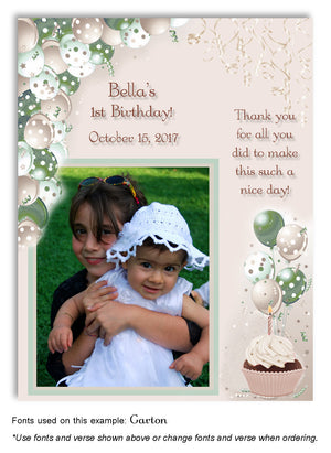 Green-Tan Polka Dot Balloons Thank You Photo Birthday Magnet