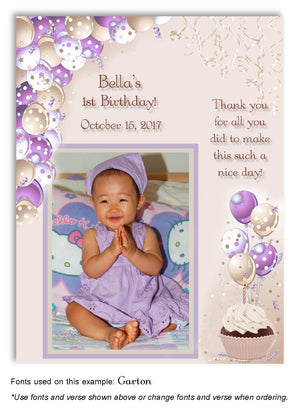 Lavender-Tan Polka Dot Balloons Thank You Photo Birthday Magnet