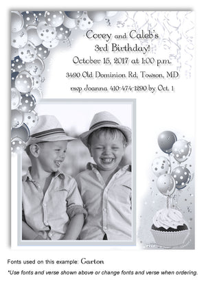 Light-Gray-White Polka Dot Balloons Invitation Photo Birthday Magnet