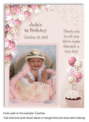 Pink-Tan Polka Dot Balloons Thank You Photo Birthday Magnet