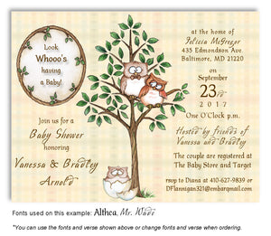 Tan Owl Invitation Baby Shower Magnet