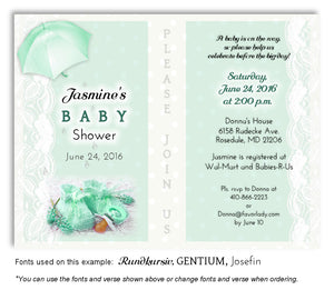 Mint Green Booties and Lace Invitation Baby Shower Magnet