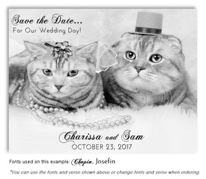 Black and White Purfect Save the Date Wedding Magnet