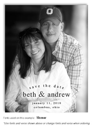 Black and White Save the Date Wedding Photo Magnet