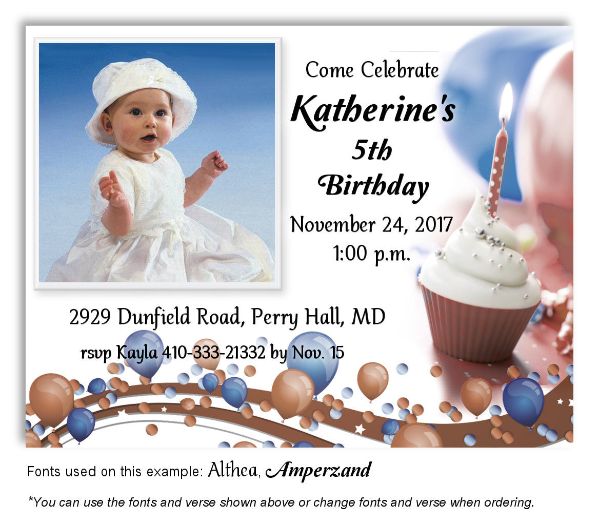 Blue Brown Festive Invitation Photo Birthday Magnet