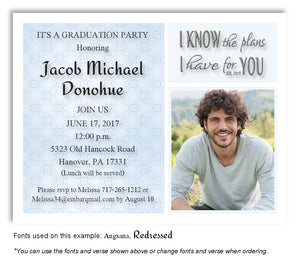 Blue Invitation Photo Graduation Magnet