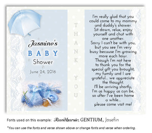 Blue Booties and Lace Thank You Baby Shower Magnet