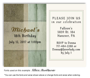 Green Rustic Invitation Birthday Magnet
