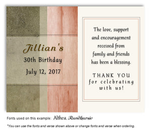 Peach Rustic Thank You Birthday Magnet