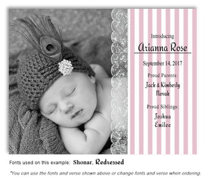 Dusty Pink Photo Birth Announcement Magnet