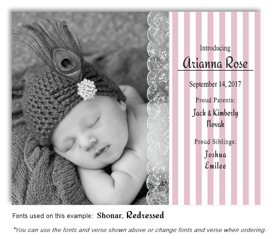 Turquoise Photo Birth Announcement Magnet