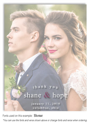 Faded Thank You Wedding Photo Magnet