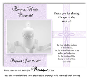 Lavender Candle w/Cross Overlay Thank You Baptism | Christening Magnet