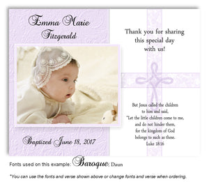 Lavender Intricate Cross Thank You Photo  Baptism Magnet