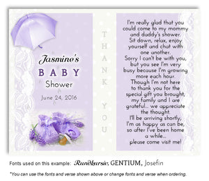 Lavender Booties and Lace Thank You Baby Shower Magnet