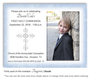 Light Blue Filigree Cross Invitation Photo Communion Magnet