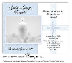 Light Blue Candle w/Cross Overlay Thank You Baptism | Christening Magnet