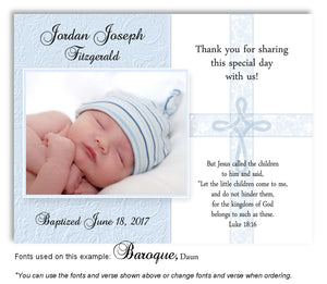 Light Blue Intricate Cross Thank You Photo  Baptism Magnet