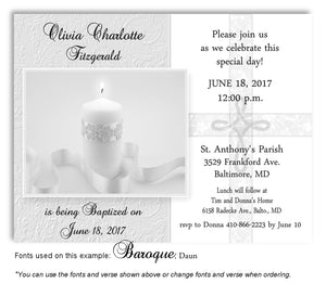 Light Gray Candle w/Cross Overlay Invitation Baptism | Christening Magnet