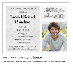 Light Gray Invitation Photo Graduation Magnet