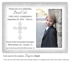 Light Gray Filigree Cross Invitation Photo Communion Magnet