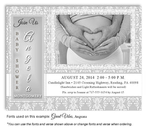 Light Gray Vintage Invitation Photo Baby Shower Magnet