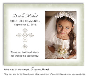 Light Green Filigree Cross Thank You Photo Communion Magnet