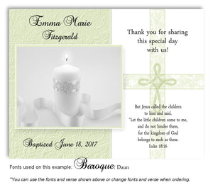 Light Green Candle w/Cross Overlay Thank You Baptism | Christening Magnet
