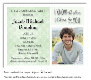 Pale Green Invitation Photo Graduation Magnet