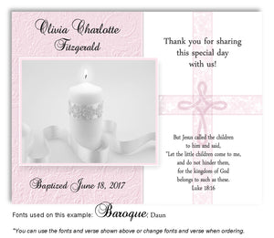 Pink Candle w/Cross Overlay Thank You Baptism | Christening Magnet
