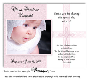 Pink Intricate Cross Thank You Photo  Baptism Magnet