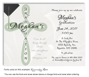 Sage Green Cross Scripture Invitation Graduation Magnet