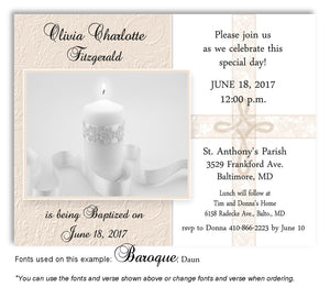 Tan Candle w/Cross Overlay Invitation Baptism | Christening Magnet