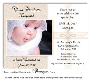 Tan Intricate Cross Invitation Photo  Baptism Magnet