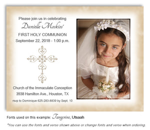Tan Filigree Cross Photo Invitation Communion Magnet