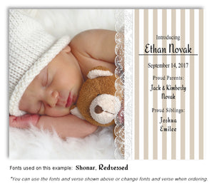 Taupe Photo Birth Announcement Magnet