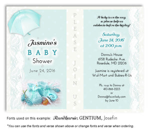 Light Turquoise Booties and Lace Invitation Baby Shower Magnet