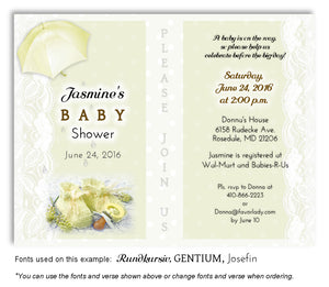 Light Yellow Booties and Lace Invitation Baby Shower Magnet