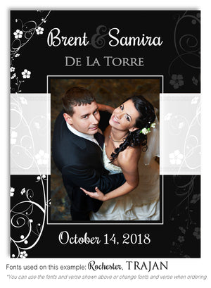 Black Floral Imprint Thank You Wedding Photo Magnet