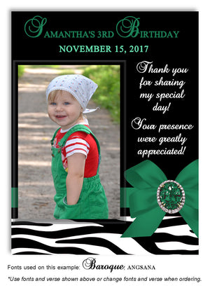 Green Zebra Bow Thank You Photo Birthday Magnet