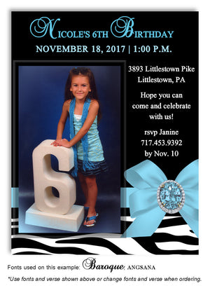 Light Turquoise Zebra Bow Invitation Photo Birthday Magnet