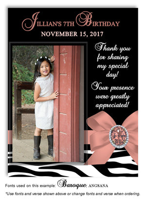 Salmon Zebra Bow Thank You Photo Birthday Magnet