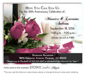 30th Mauve Roses Invitation Anniversary Magnet