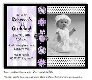 Lavender Party Time Invitation Photo Birthday Magnet