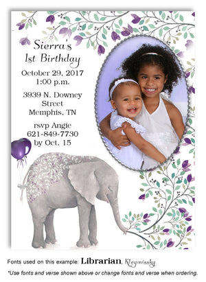 Purple Elephant Invitation Photo Birthday Magnet