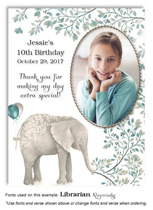 Teal Elephant Thank You Photo Birthday Magnet