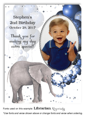 Blue Elephant Thank You Photo Birthday Magnet